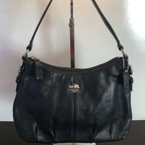 Coach Black Leather Hobo Carriage Logo Silver